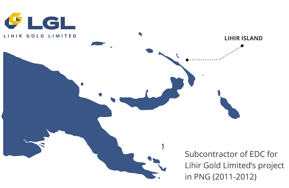 Subcontractor of EDC for Lihir Gold Limited's project  in PNG (2011-2012)